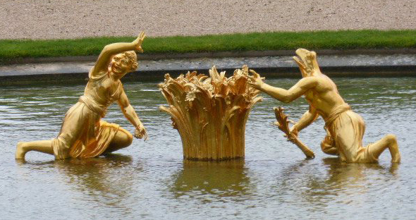 Fountain at Versailles in winter