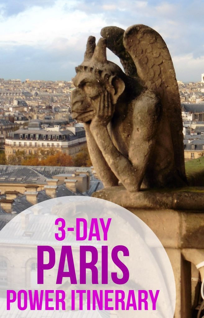 See the best of Paris, France in just three days in this fast-paced itinerary. Includes: the Eiffel Tower, Notre Dame, Versailles, the Louvre, Musee d'Orsay, Sainte Chappelle, the Pantheon, and a Seine River cruise. #Paris | #France | #EiffelTower | #NotreDame | #Louvre | Fast-paced Paris itinerary