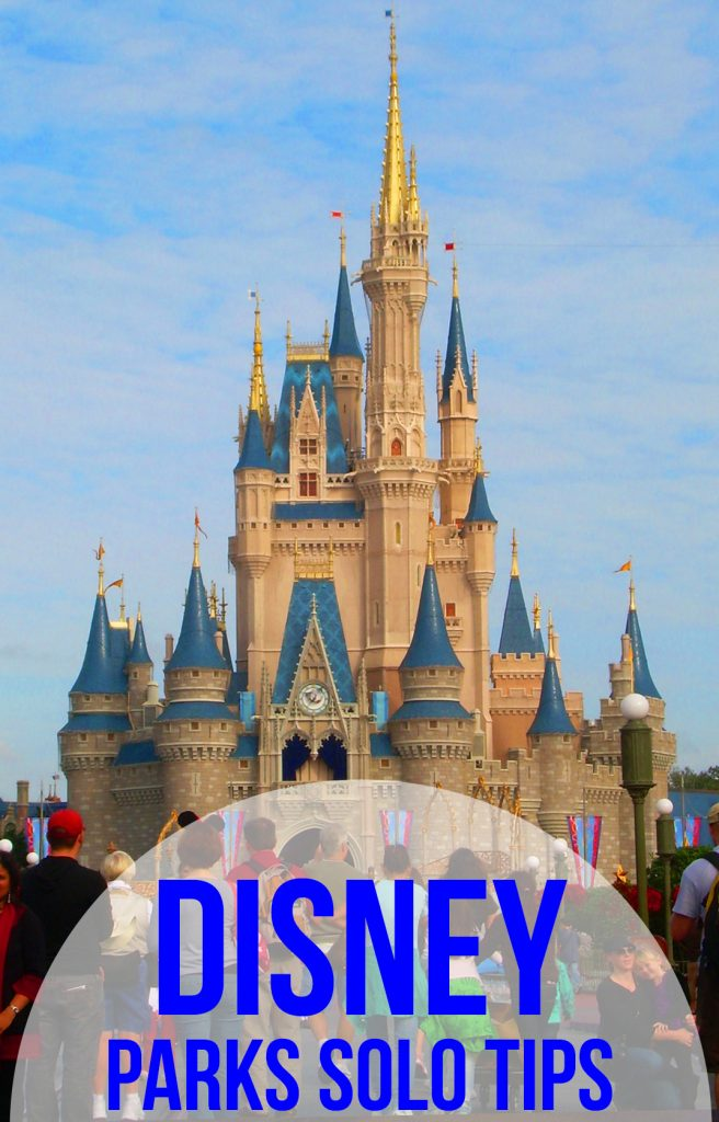 """Cinderella Castle with text overlay reading """"Disney parks solo tips"""""""