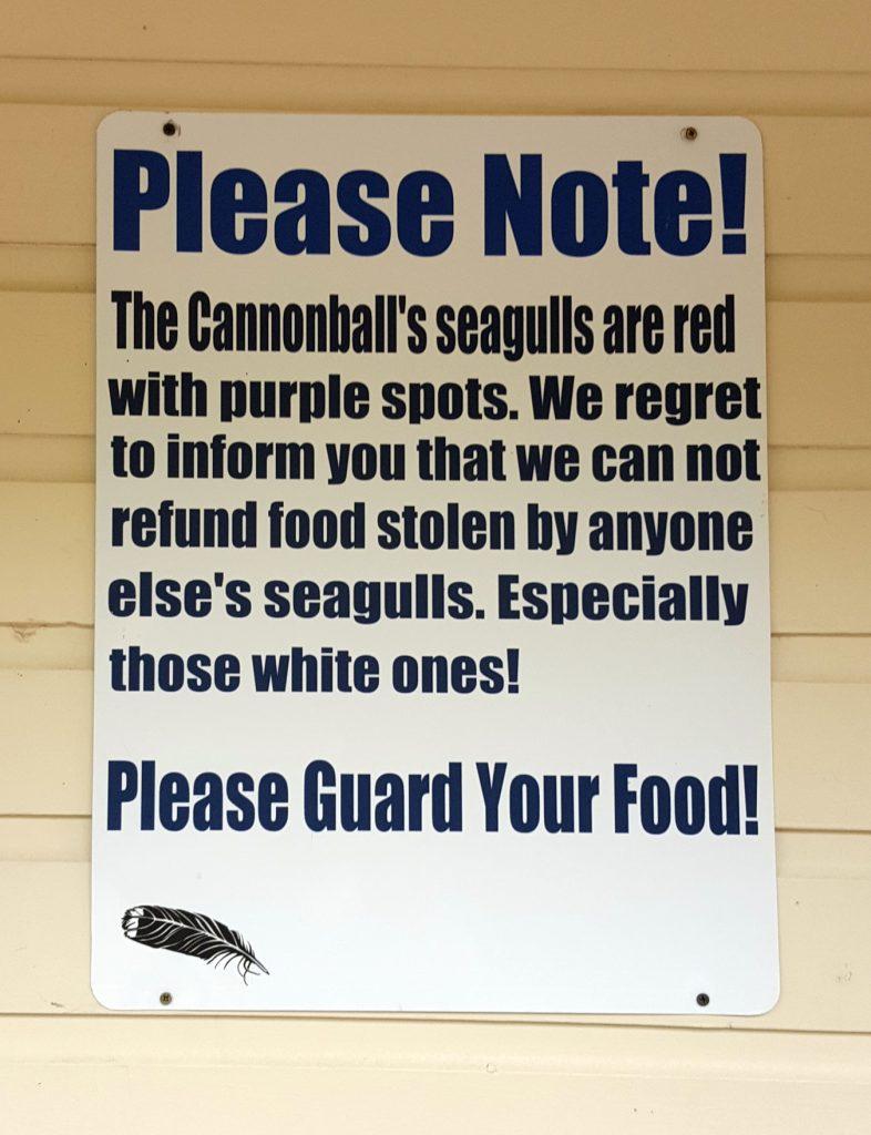 Cannonball restaurant seagull sign on Mackinac Island