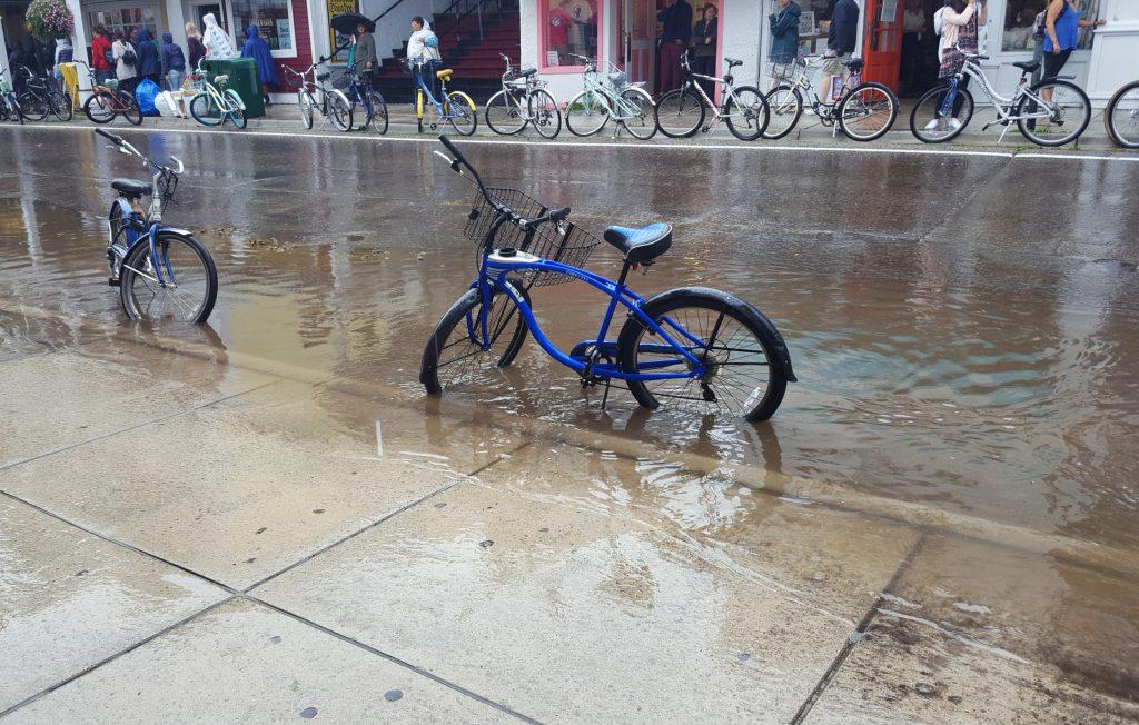 Flooded street on Mackinac Island