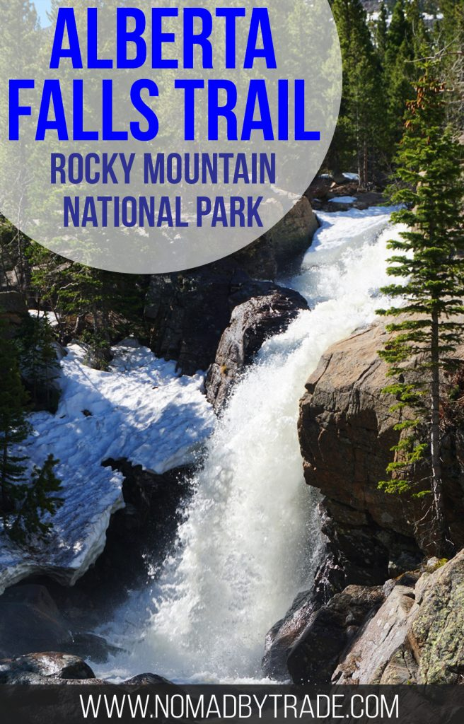 The Alberta Falls trail in Rocky Mountain National Park is an easy hike that rewards visitors with a view of a beautiful and unique waterfall.