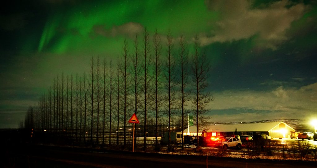 Northern Lights over the Litli Geysir Hotel in Iceland