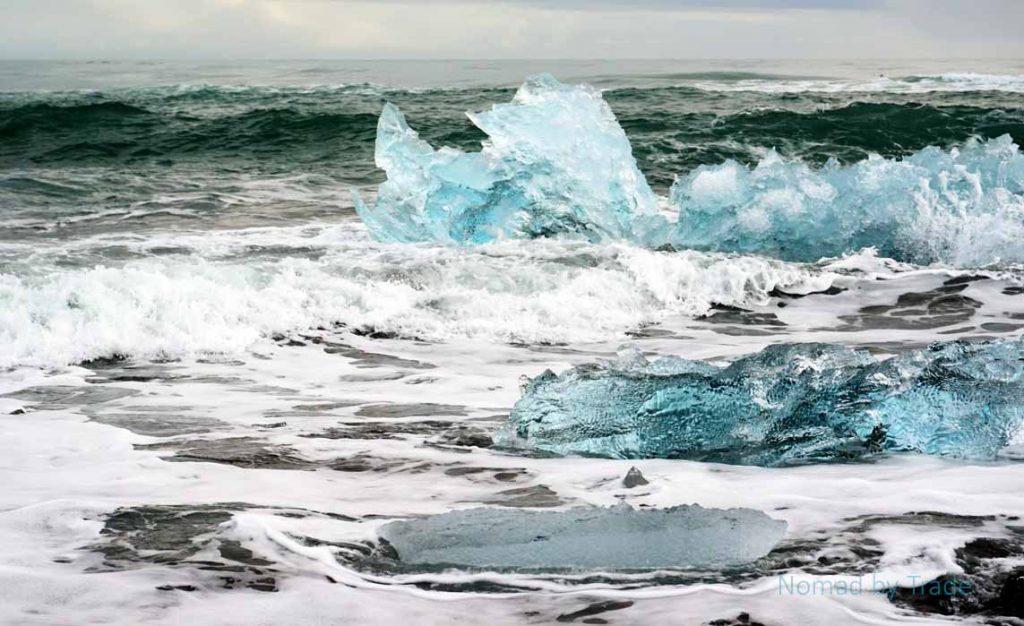Ice boulders on Diamond Beach in Iceland