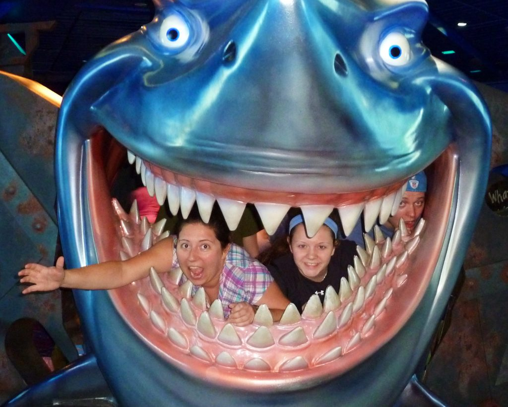 People inside of a shark at Epcot