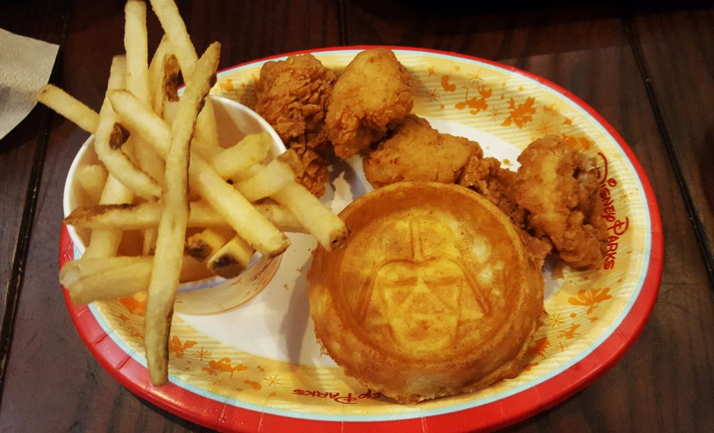 Dark Side chicken and waffles at the Backlot Express in Disney's Hollywood Studios