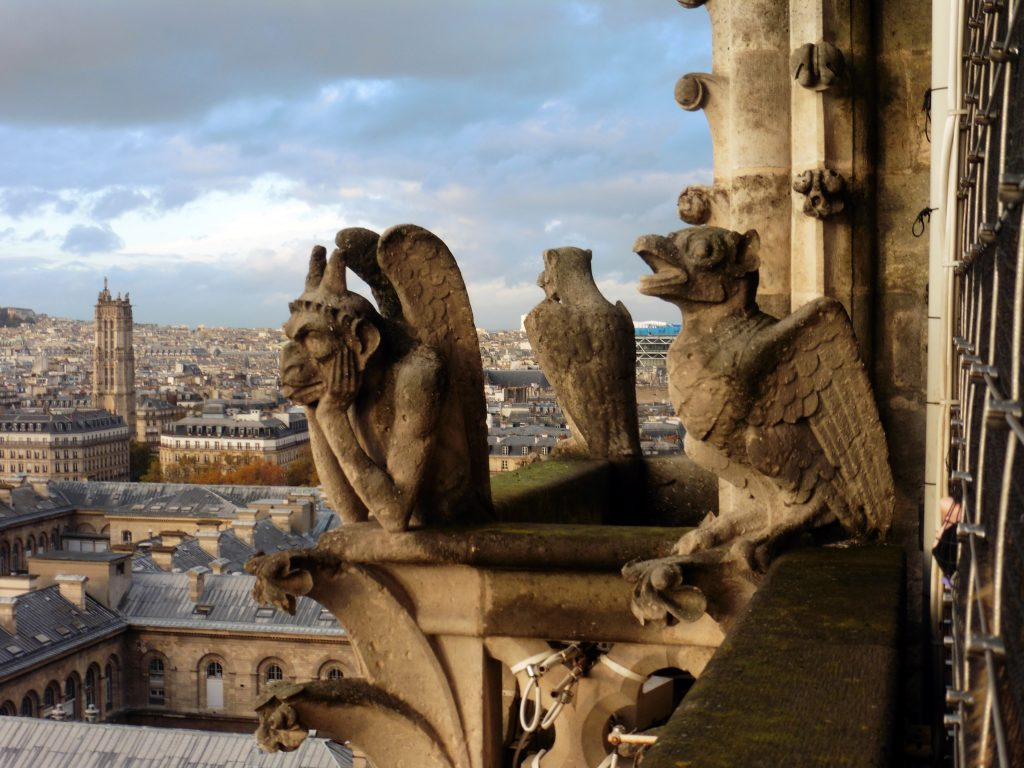 Gargoyles atop Notre Dame in Paris, France