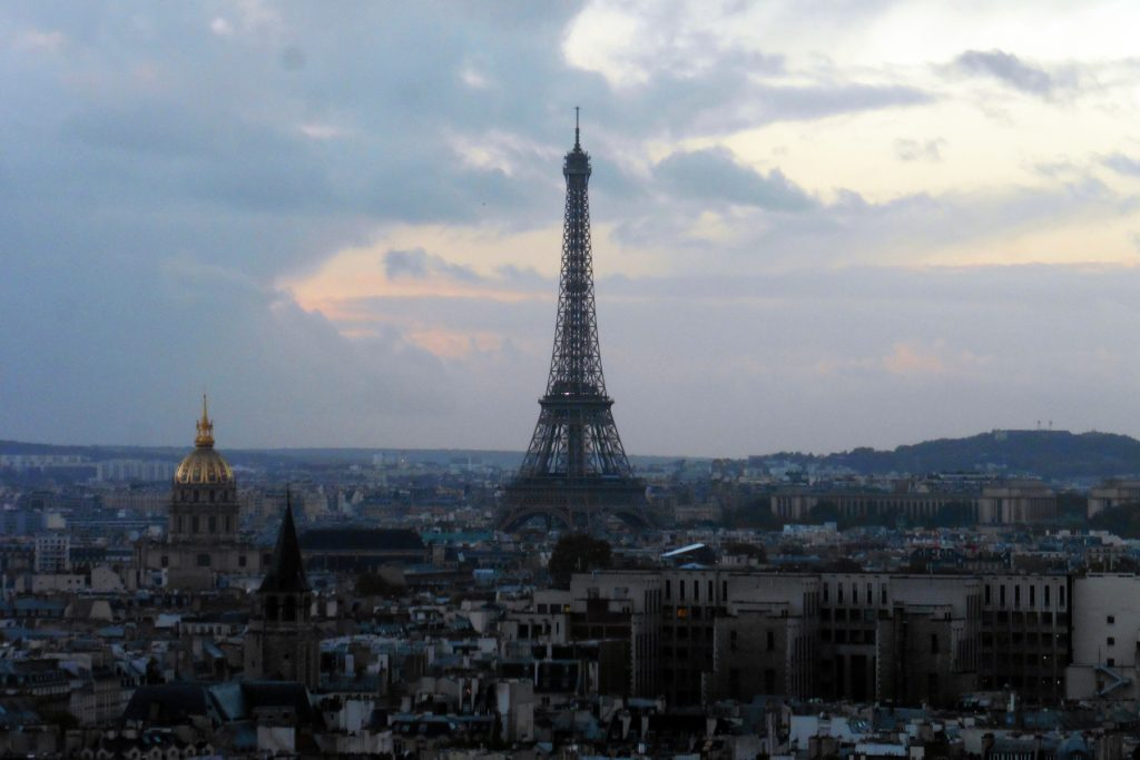 View of the Eiffel Tower from Notre Dame in Paris, France