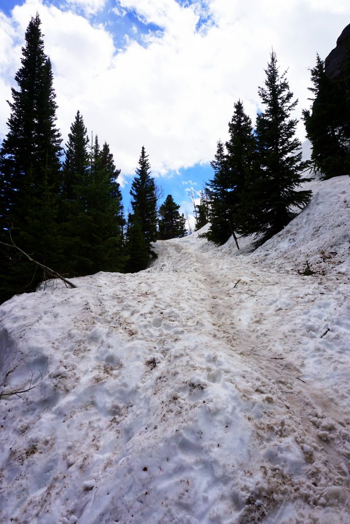 Snow along the Dream Lake Trail in Rocky Mountain National Park