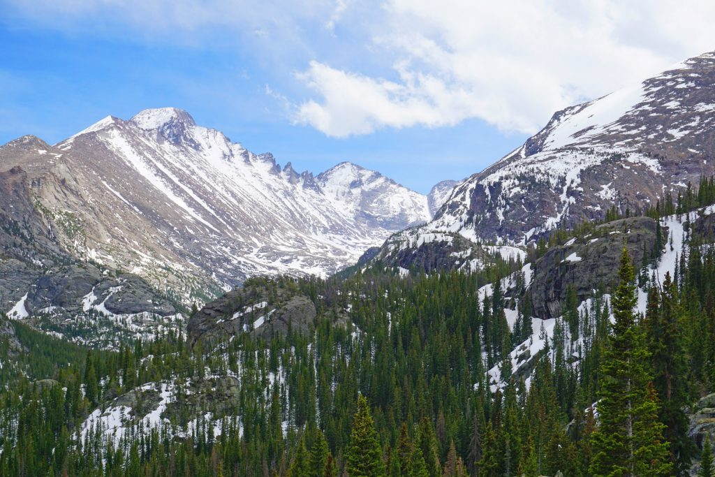 View from the Dream Lake Trail in Rocky Mountain National Park
