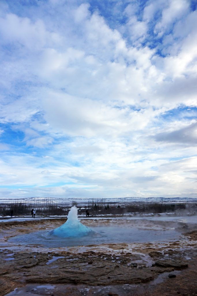 Beginning of a Strokkur eruption - Iceland's Golden Circle in winter