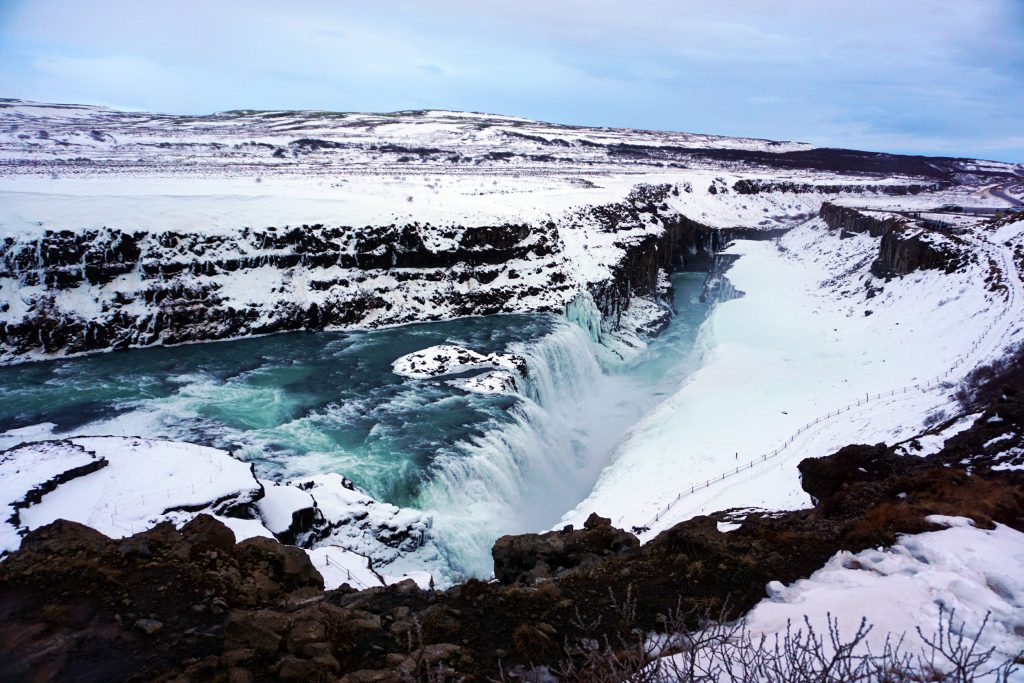Overlook of Gullfoss waterfall in Iceland's Golden Circle