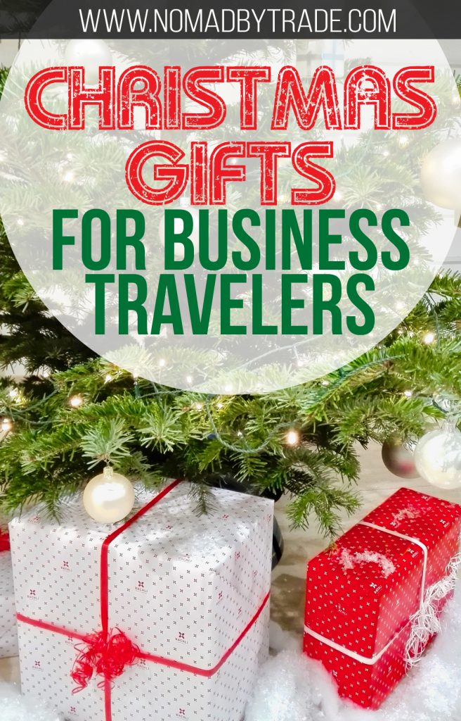 """Tree with presents with text overlay reading """"Christmas gifts for business travelers"""""""