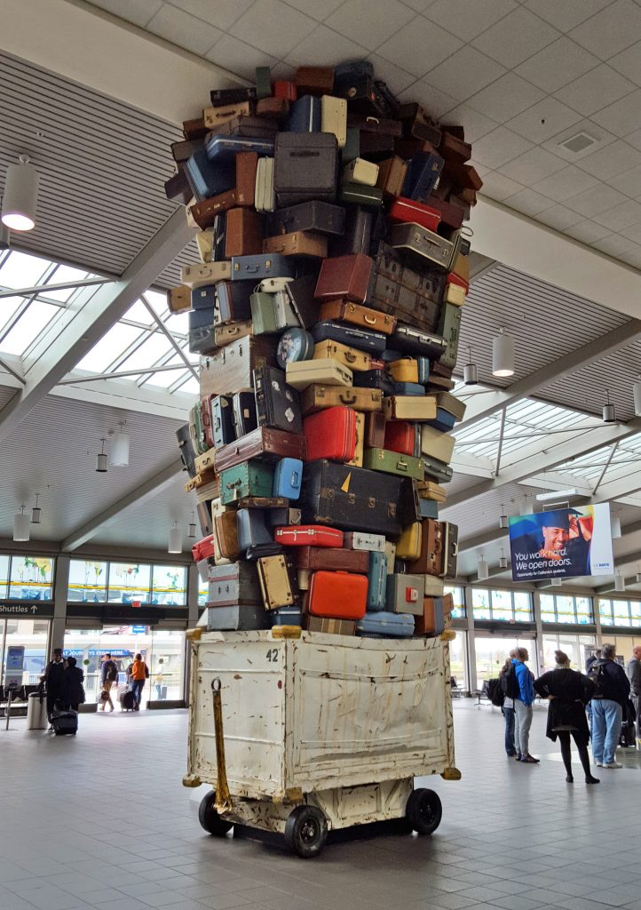 Luggage statue at the Sacramento airport