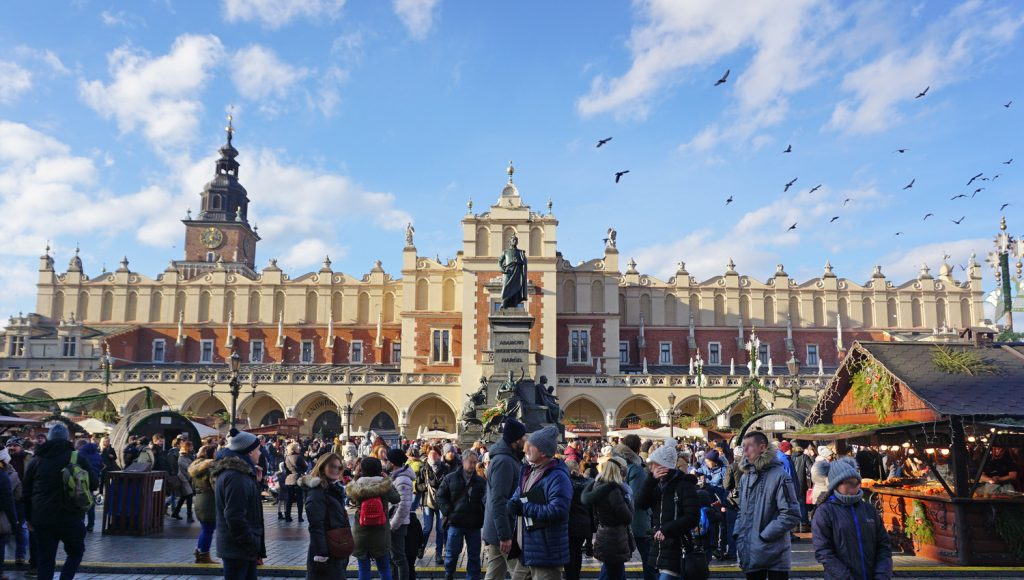 Historic Cloth Hall in the Rynek Glowny in Krakow with crowds of people