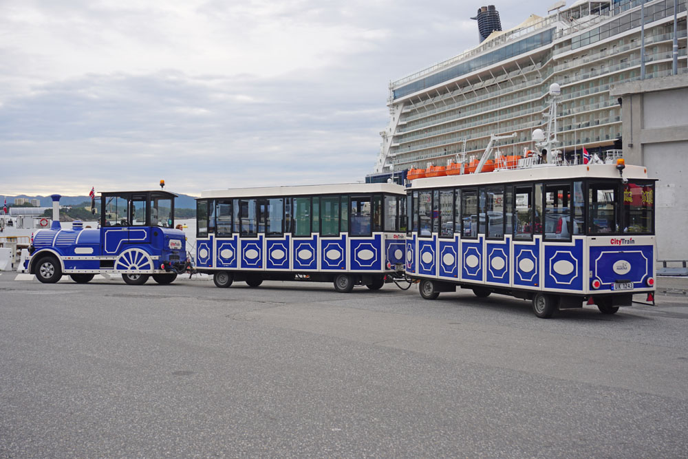 Tourist train at the cruise port in Alesund, Norway