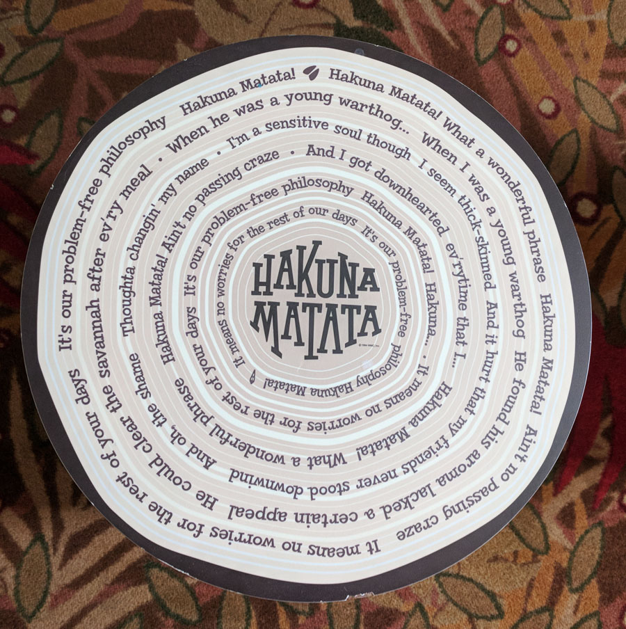 End table in the Art of Animation Lion King family suite with Hakuna Matata lyrics