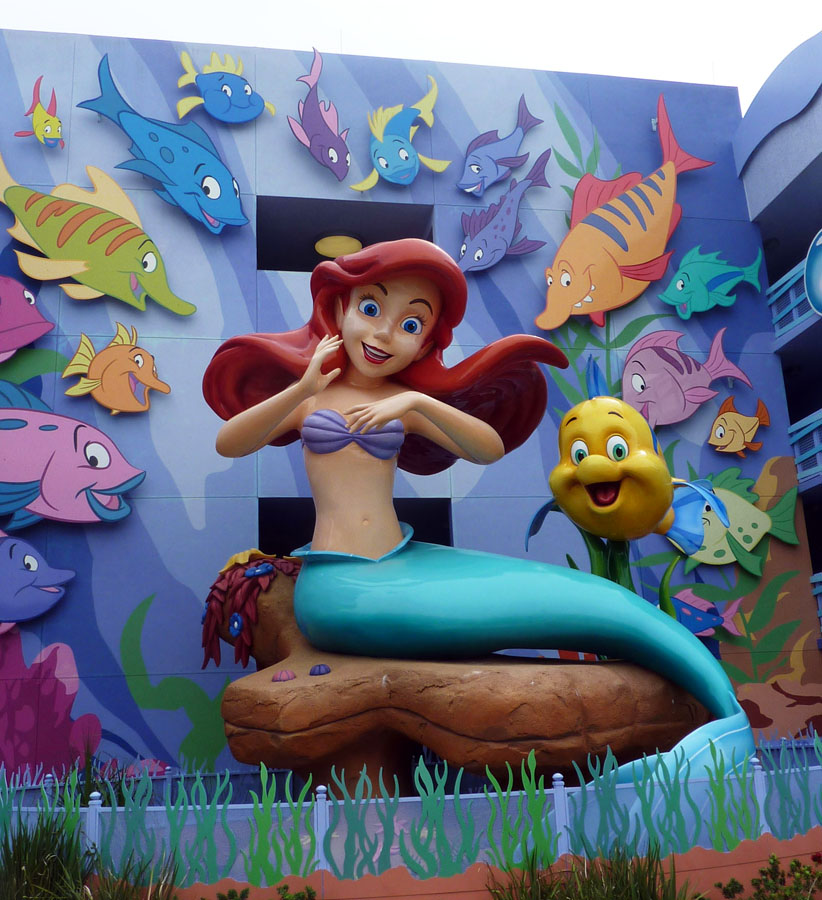 Giant Ariel statue by the Art of Animation Little Mermaid Pool