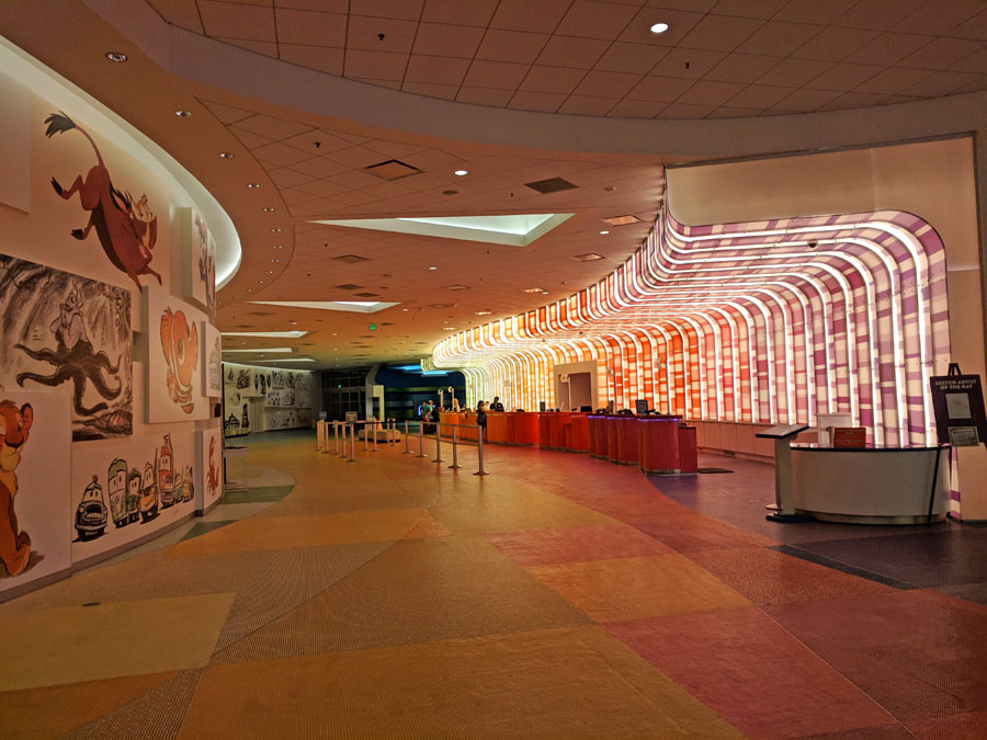 Colorful Art of Animation front desk and lobby