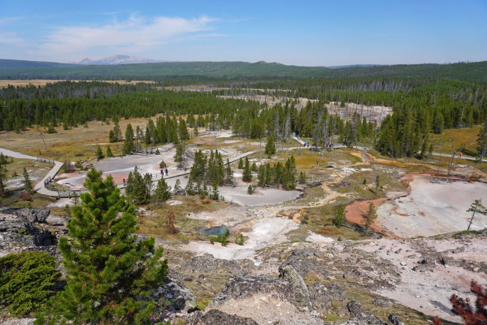 Hillside with steam rising from hydrothermal formations in Yellowstone National Park