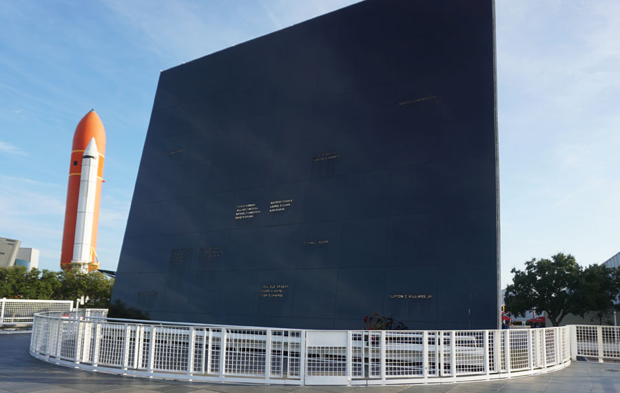 Mirror wall memorial at the Kennedy Space Center