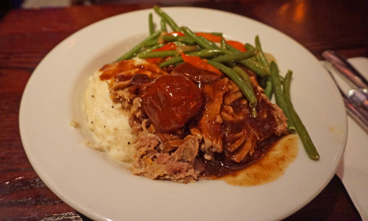 Roast pork, green beans, and mashed potatoes at Disney's Be Our Guest lunch