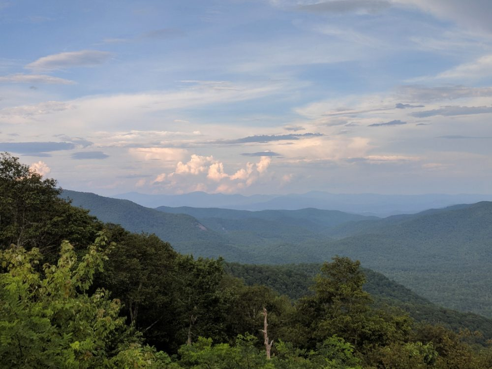 View of rolling mountains along the Blue Ridge Parkway