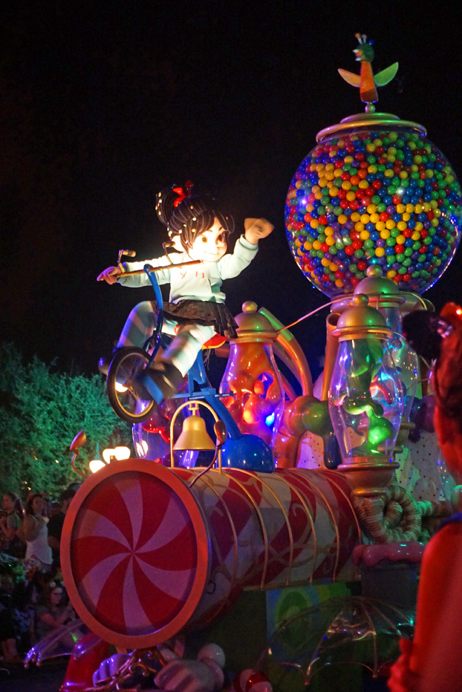 Vanellope riding in the Boo to You Parade