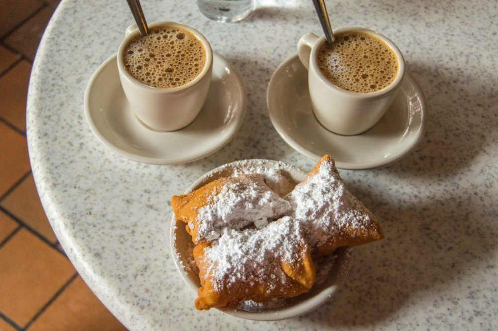 Beignets and cafe au lait from Cafe du Monde in New Orleans