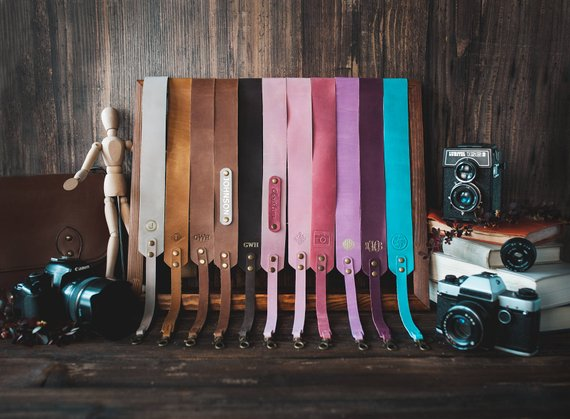 Colorful customized leather camera straps