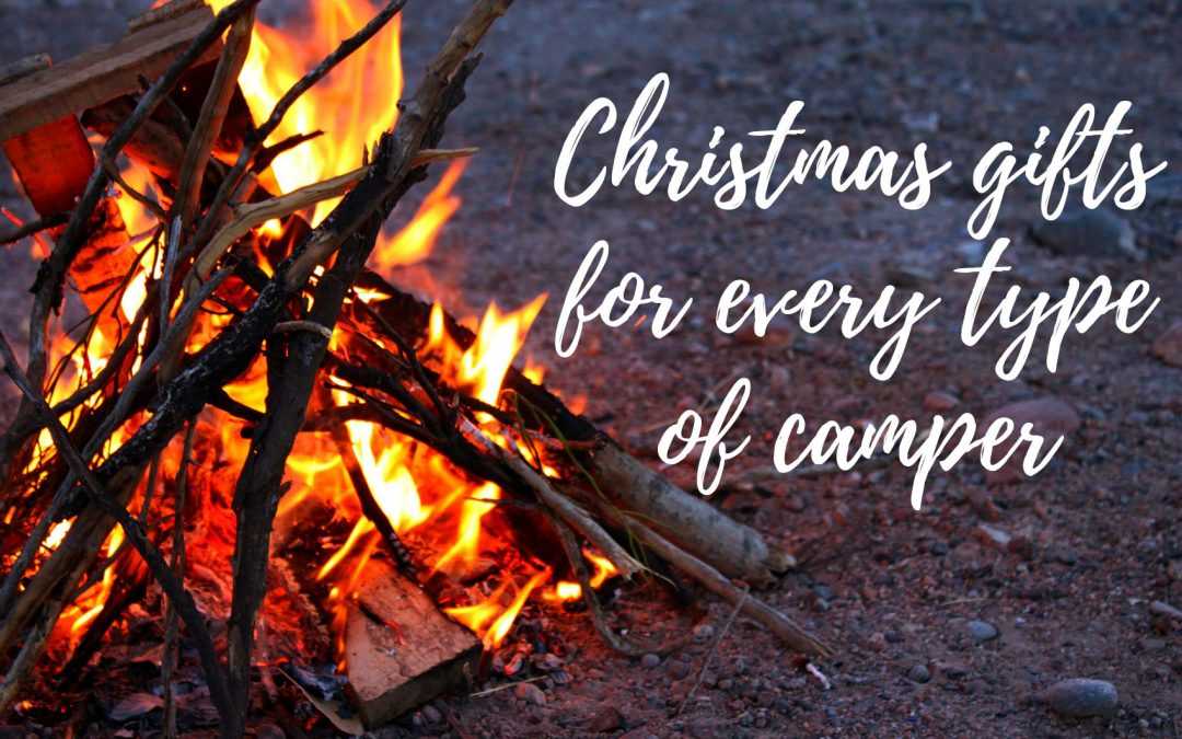 "Campfire with text overlay reading ""Christmas gifts for every type of camper"""