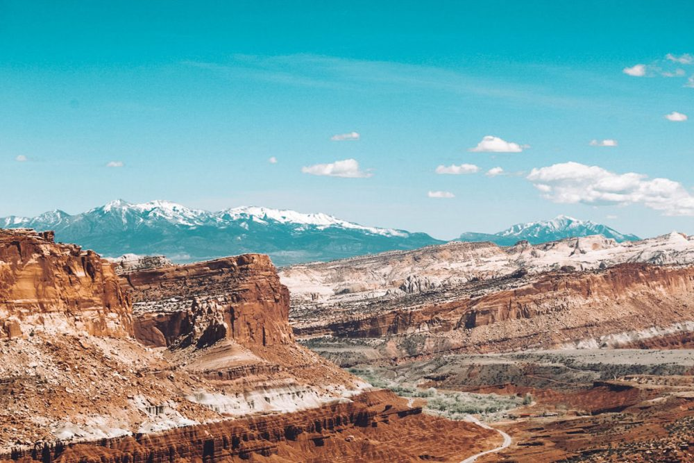 Rock formations in Capitol Reef National Park, a less-crowded alternative to Zion National Park
