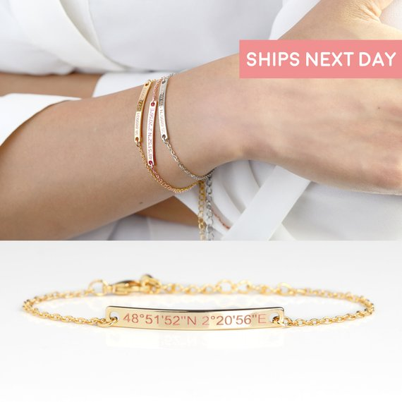 Dainty bracelets with GPS coordinates engraved