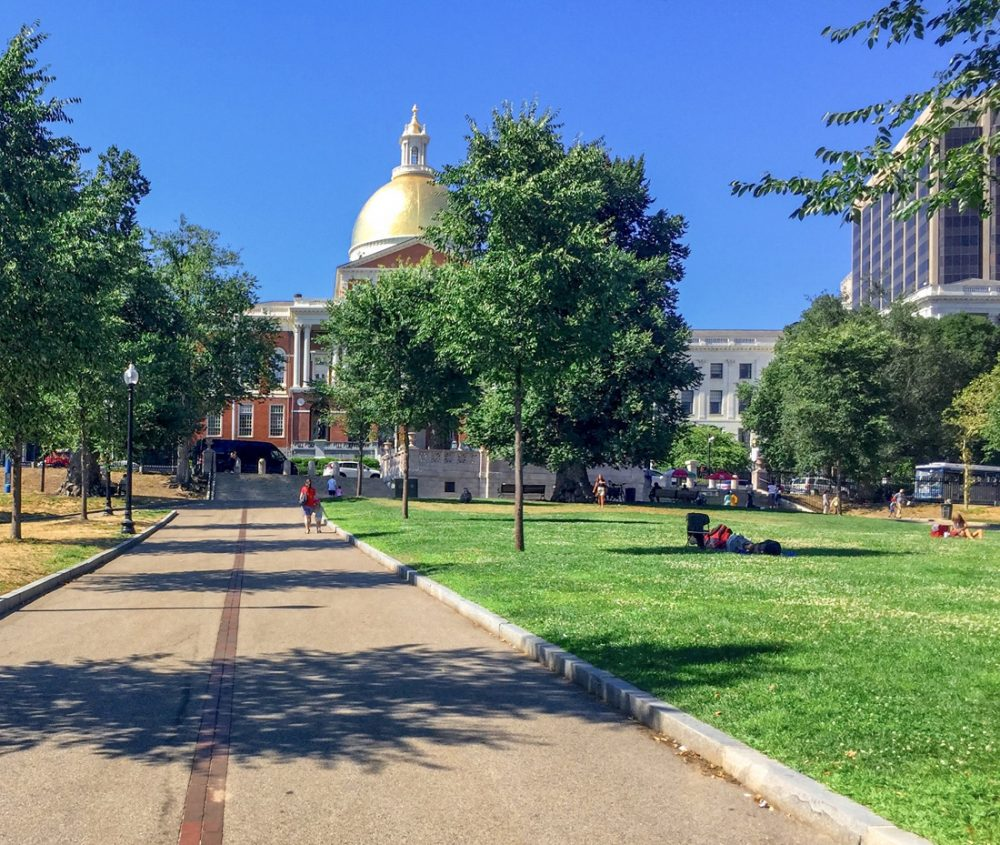 Tree-lined pathway on the Freedom Trail in Boston