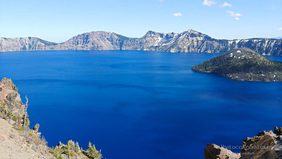 Bright blue waters of Crater Lake
