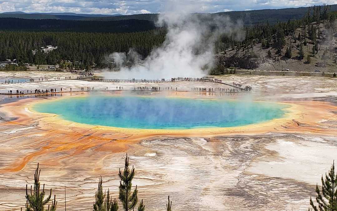 Visitors viewing Morning Glory Pool in Yellowstone National Park