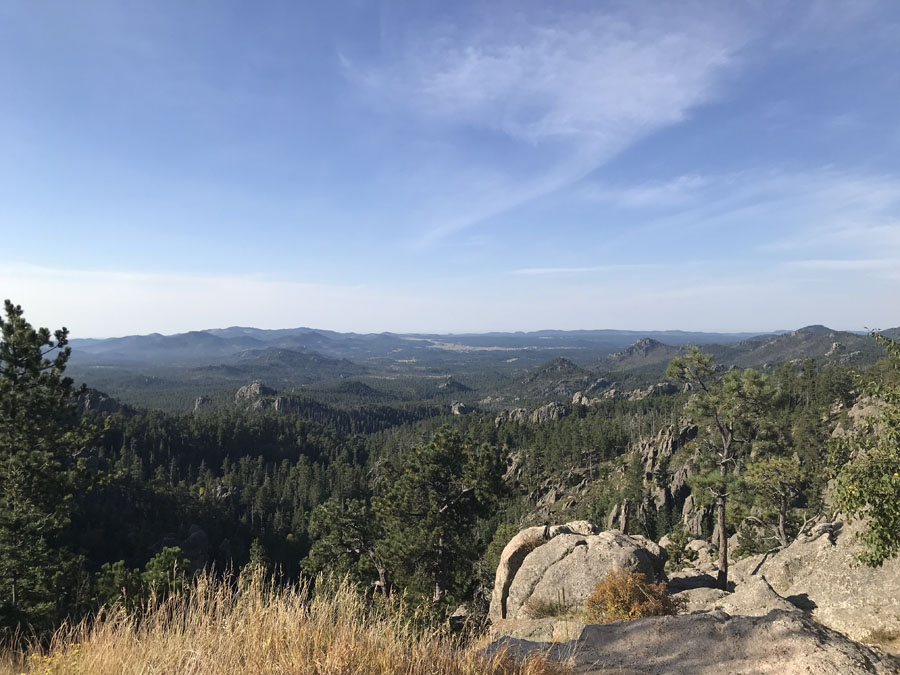 Rolling hills from an overlook in Custer State Park