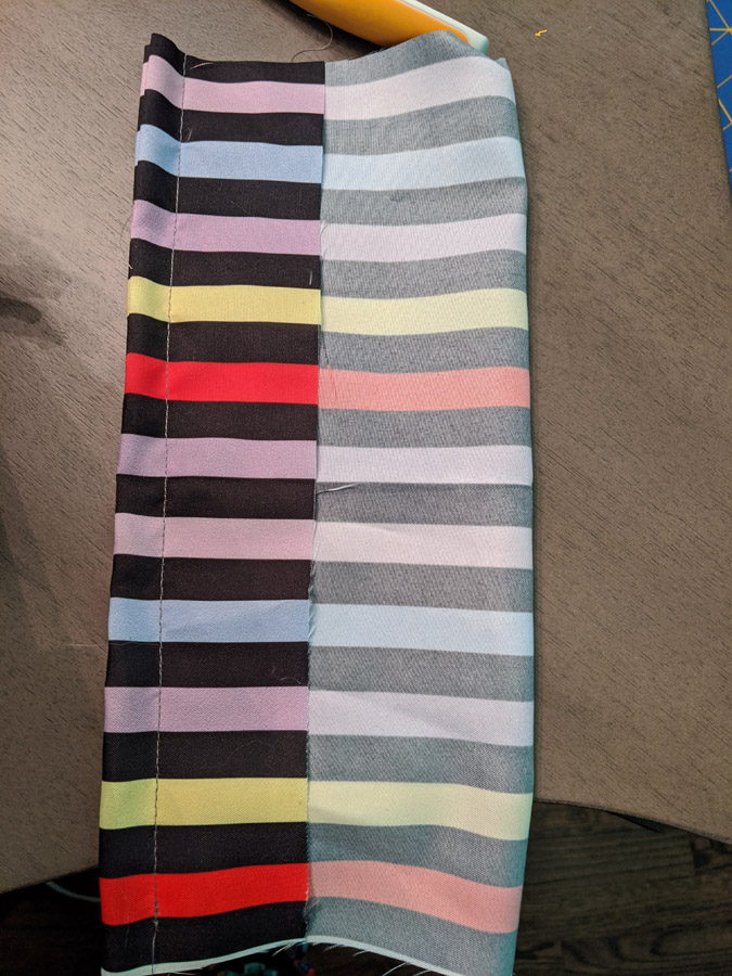 Striped fabric for a Minnie Mouse ears bow