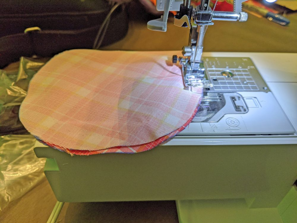 Mouse ears fabric loaded into a sewing machine