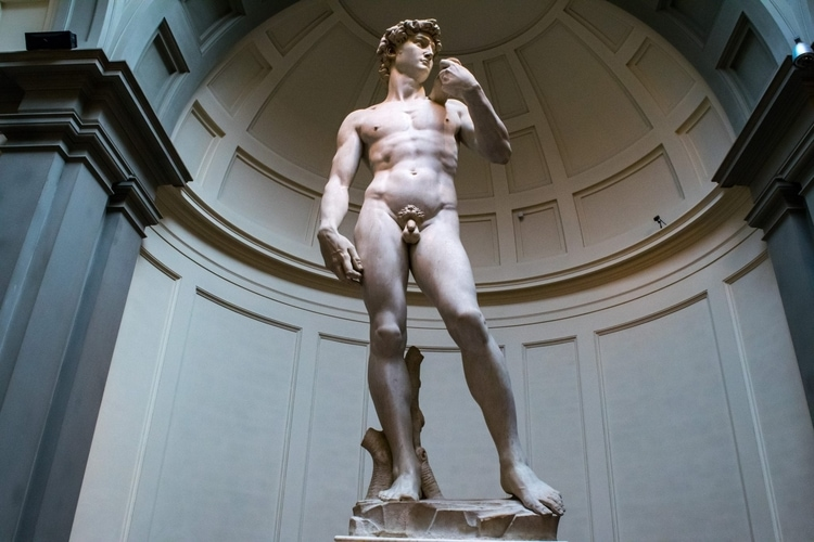 Michaelangelo's David in the Galleria dell'Academia in Florence