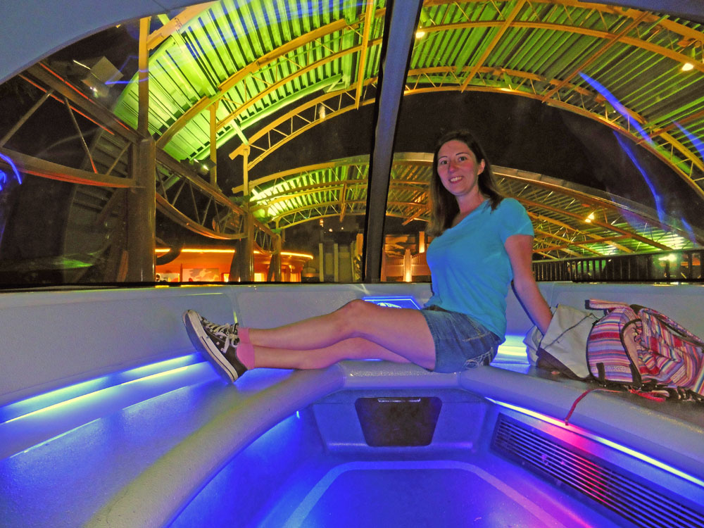 Woman riding in the front of Disneyland's monorail on a Disney solo trip.