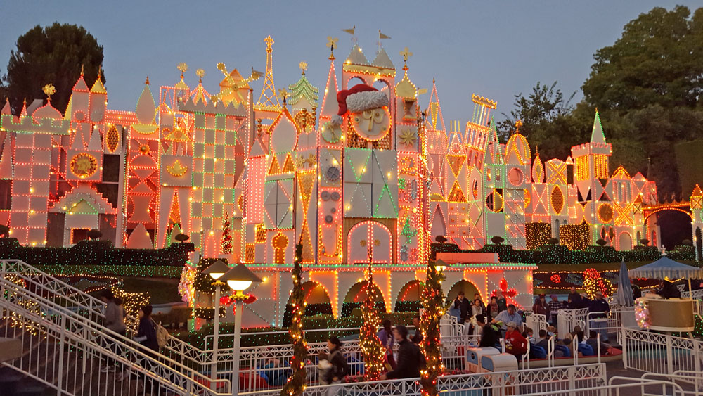 It's a Small World at Disneyland with Christmas lights