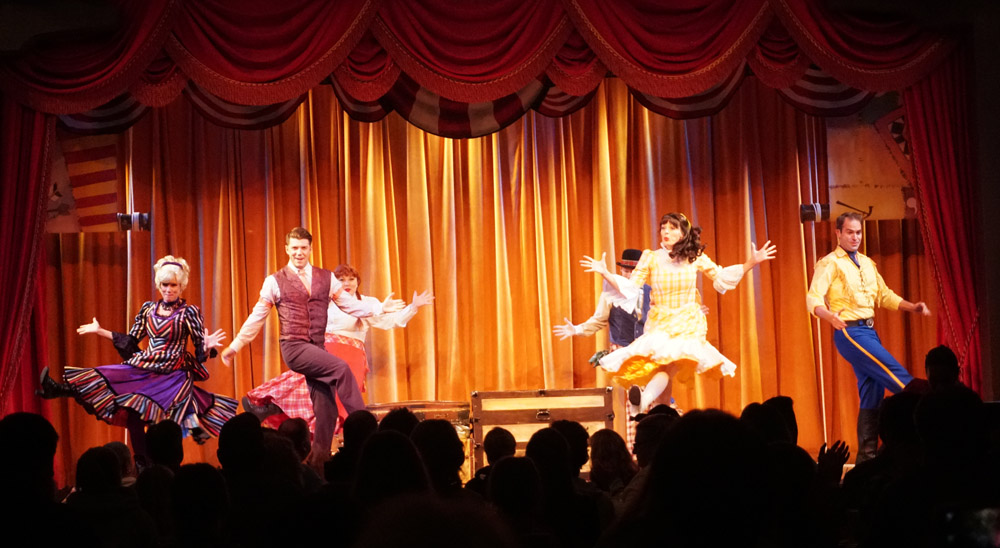Performers on stage at the Hoop Dee Doo Revue