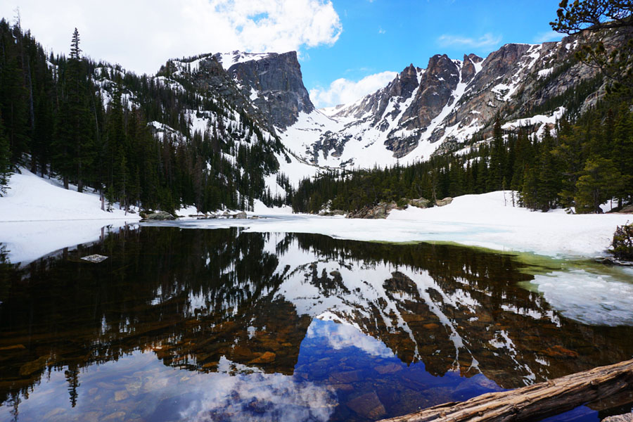 Reflections of the mountains in Dream Lake in Rocky Mountain National Park