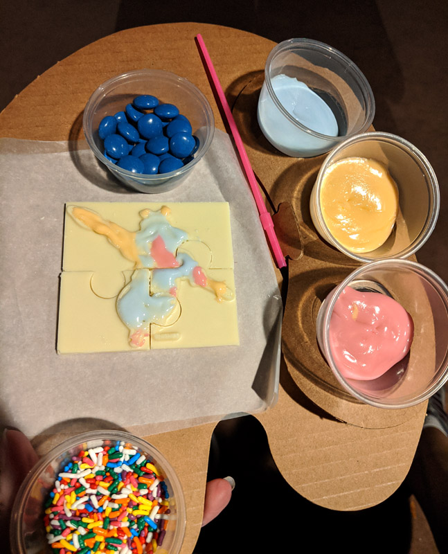 Figment white chocolate puzzle with frosting paints
