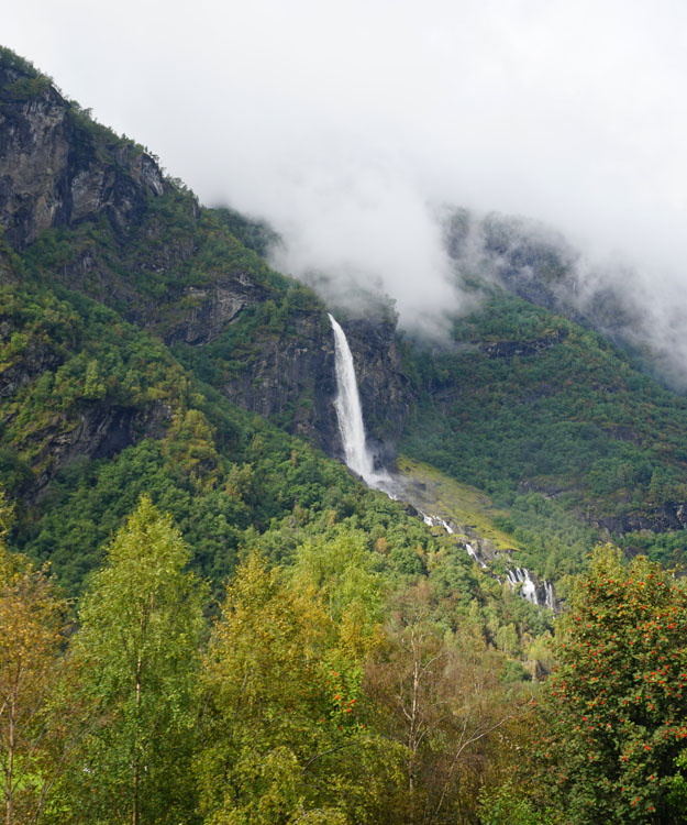 Waterfall along the Flam Railway heading to Flam Norway