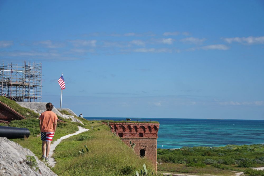 Grassy pathway atop Fort Jefferson in Dry Tortugas National Park