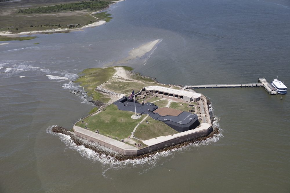 Aerial view of Fort Sumter in Charleston Harbor