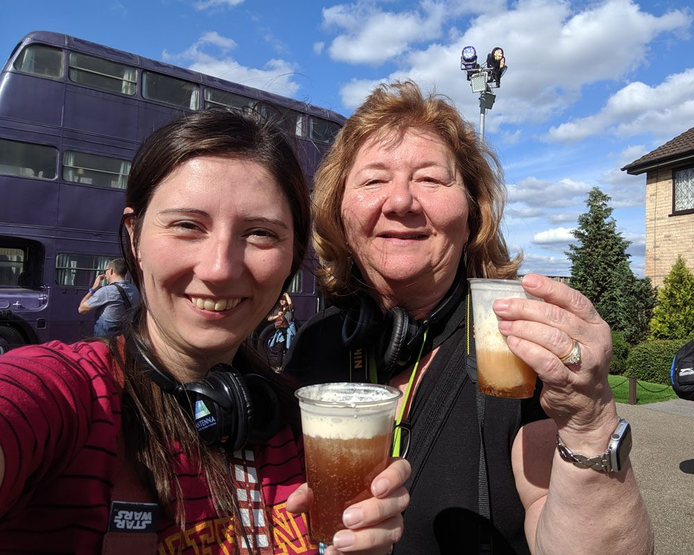 Two women drinking butterbeer at the Warner Bros Studio Tour London