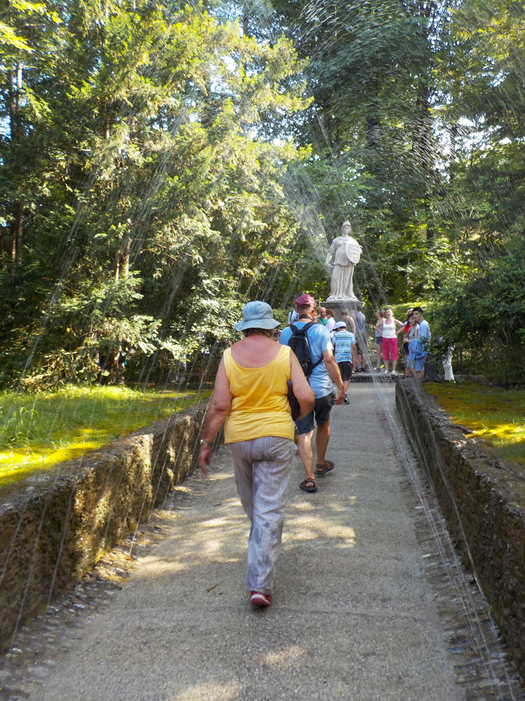 Tunnel made of fountains at Hellbrunn Palace, one of the best things to do in Salzburg with kids
